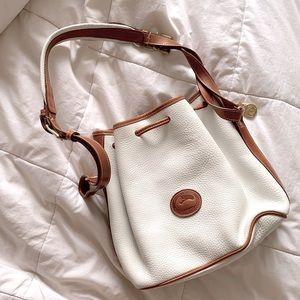 DOONEY & BOURKE White Leather Drawstring Bucket Bag